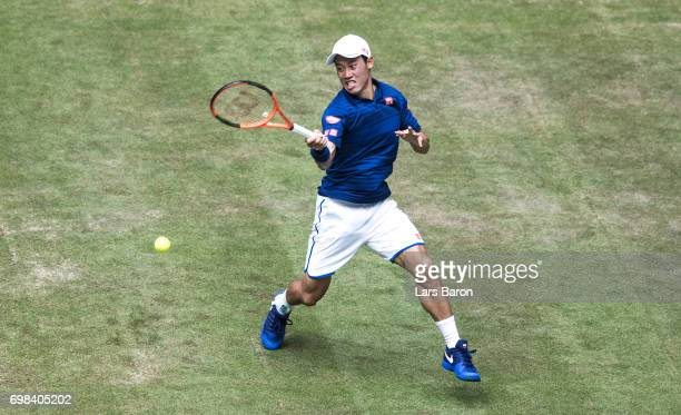 Kei Nishikori of Japan plays a forehand during his match against Fernando Verdasco of Spain during Day 4 of the Gerry Weber Open 2017 at on June 20...