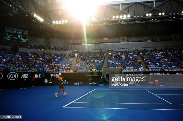 Kei Nishikori of Japan plays a forehand in his fourth round match against Pablo Carreno Busta of Spain during day eight of the 2019 Australian Open...