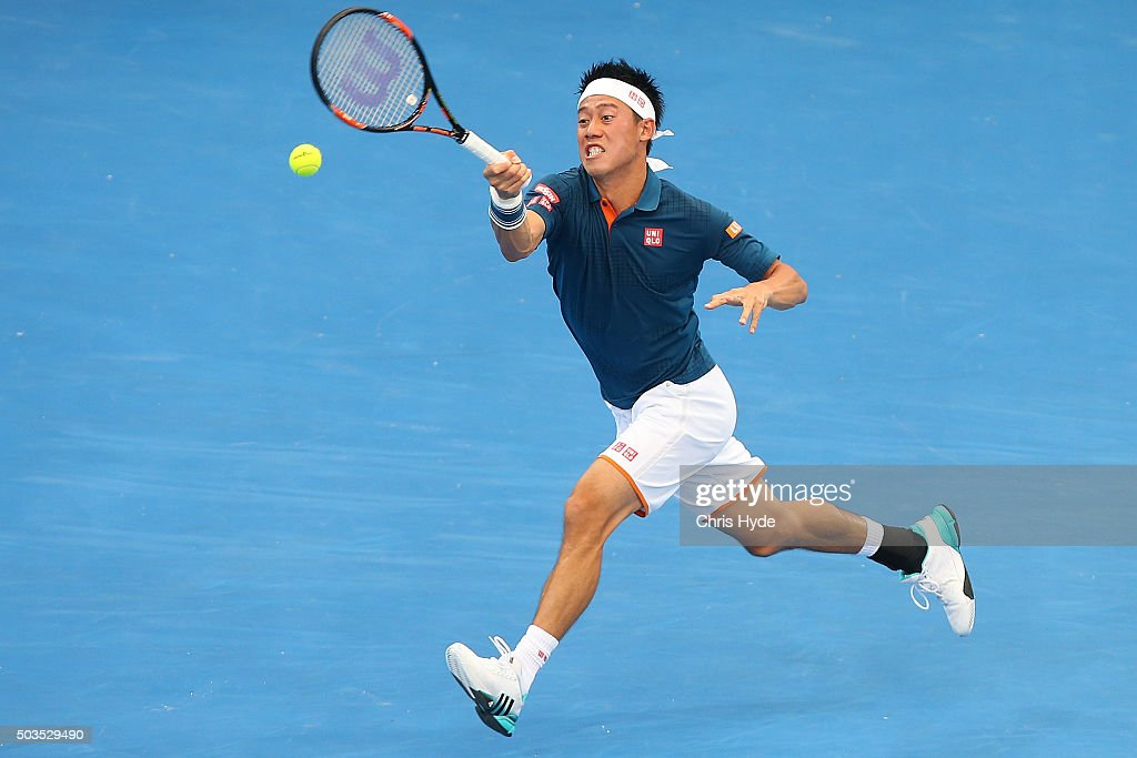 Kei Nishikori of Japan plays a forehand in his match against Mikhail Kukushkin of Kazakhstan during day four of the 2016 Brisbane International at Pat Rafter Arena on January 6, 2016 in Brisbane, Australia.