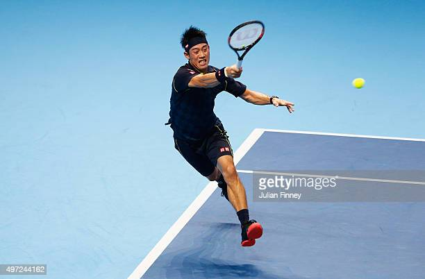 Kei Nishikori of Japan plays a forehand in his men's singles match against Novak Djokovic of Serbia during day one of the Barclays ATP World Tour...