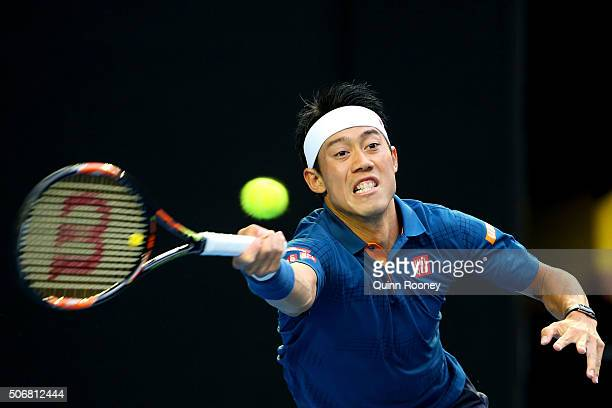 Kei Nishikori of Japan plays a forehand in his quarter final match against Novak Djokovic of Serbia during day nine of the 2016 Australian Open at...