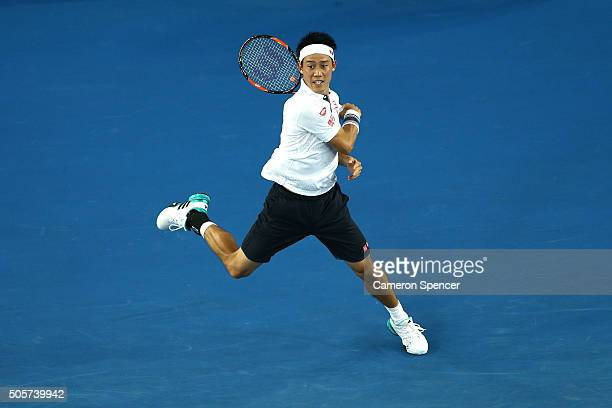 Kei Nishikori of Japan plays a forehand in his second round match against Austin Krajicek of the United States during day three of the 2016...