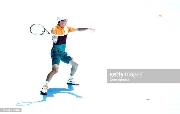 Kei Nishikori of Japan plays a shot during a practice session ahead of the 2019 Australian Open at Melbourne Park on January 12 2019 in Melbourne...