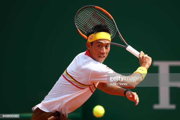 Kei Nishikori of Japan plays a shot in his match against Tomas Berdych of the Czech Republic during day two of ATP Masters Series Monte Carlo Rolex...