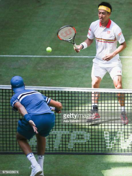 Kei Nishikori of Japan plays a stop ball during his round of 16 match against Karen Khachanov of Russia on day 3 of the Gerry Weber Open at Gerry...