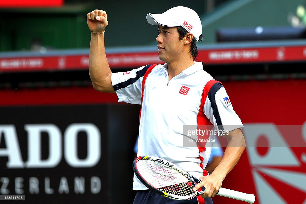 Kei Nishikori of Japan plays in action in his match against Marcos Baghdatis of Cyprus during day six of the Rakuten Open at Ariake Colosseum on October 6, 2012 in Tokyo, Japan.