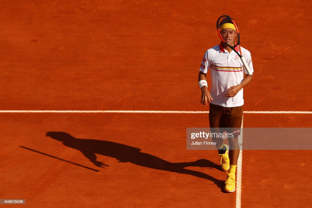 Kei Nishikori of Japan plays reacts during his men's Semi-Final match against Alexander Zverev Jr. of Germany during day seven of ATP Masters Series: Monte Carlo Rolex Masters at Monte-Carlo Sporting Club on April 21, 2018 in Monte-Carlo, Monaco.