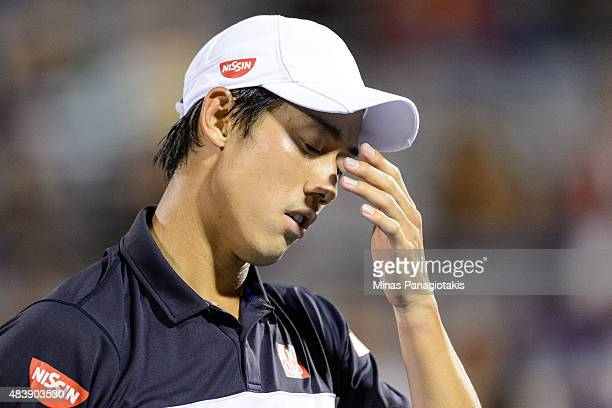 Kei Nishikori of Japan reacts after loosing a point to David Goffin of Belgium during day four of the Rogers Cup at Uniprix Stadium on August 13 2015...