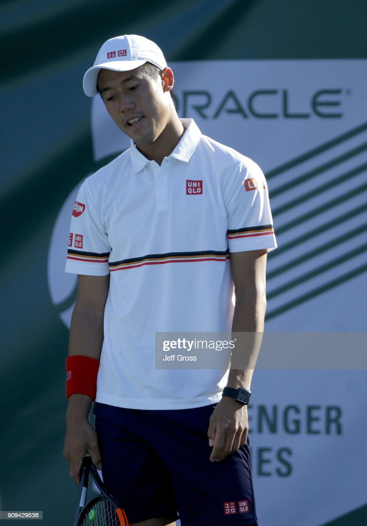 Kei Nishikori of Japan reacts after losing a point to Dennis Novikov during the first round of the Oracle Challenger Series at the Newport Beach Tennis Club on January 23, 2018 in Newport Beach, California.