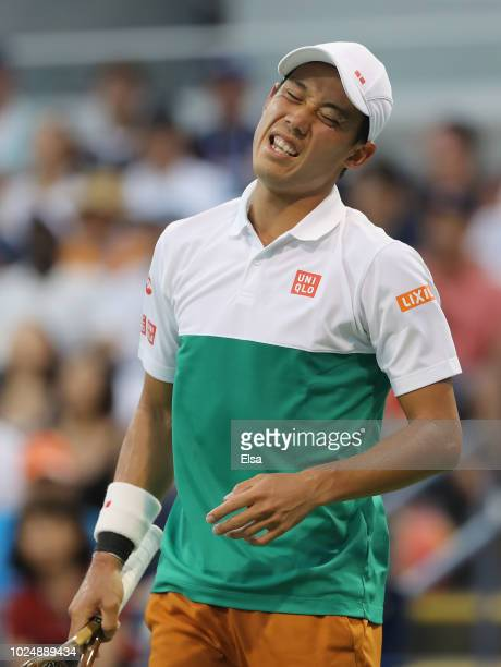 Kei Nishikori of Japan reacts during his men's singles first round match against Maximilian Marterer of Germany on Day Two of the 2018 US Open at the...
