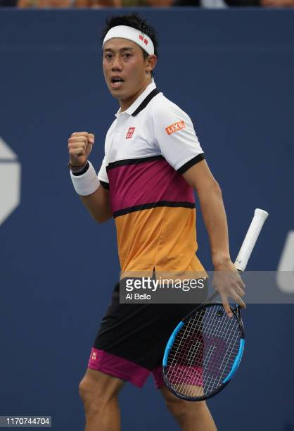 Kei Nishikori of Japan reacts during his Men's Singles second round match against Bradley Klahn of the United States on day three of the 2019 US Open...