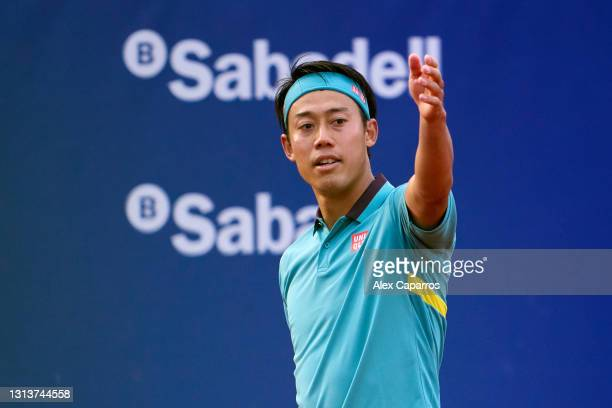 Kei Nishikori of Japan reacts in his second round match against Cristian Garin of Chile during day three of the Barcelona Open Banc Sabadell 2021 on...