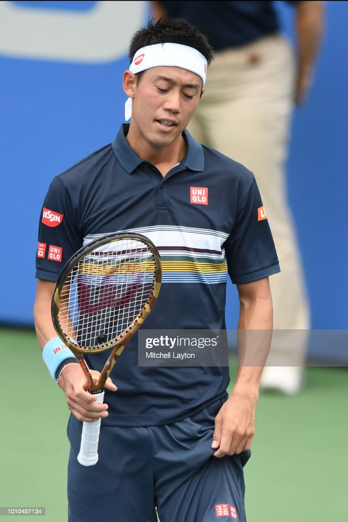 Kei Nishikori of Japan reacts to a missed shot during a match against Alexander Zverev of Germany during Day Seven of the Citi Open at the Rock Creek Tennis Center on August 3, 2018 in Washington, DC.