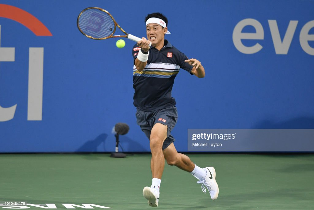 Kei Nishikori of Japan returns a forehand shot to Alexander Zverev of Germany during Day Seven of the Citi Open at the Rock Creek Tennis Center on August 3, 2018 in Washington, DC.