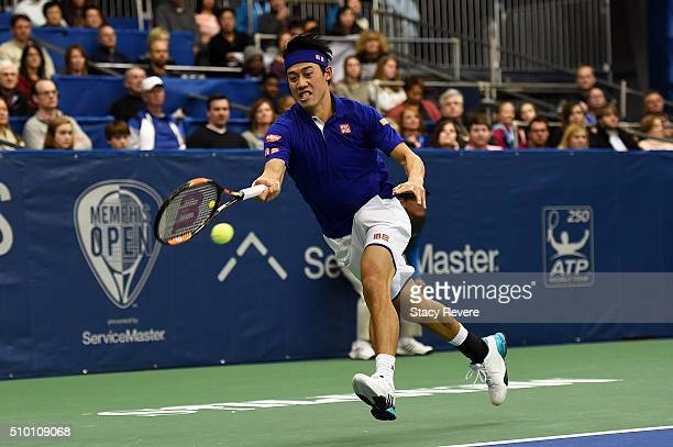Kei Nishikori of Japan returns a shot to Sam Querrey of the United States during their semi-final singles match on Day 6 of the Memphis Open at the...