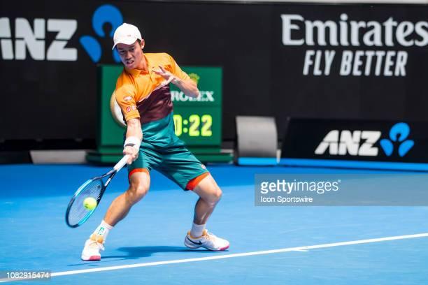 Kei Nishikori of Japan returns the ball during day 2 of the Australian Open on January 15 2019, at Melbourne Park in Melbourne, Australia.