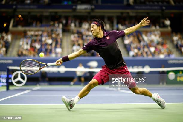 Kei Nishikori of Japan returns the ball during his men's singles semifinal match against Novak Djokovic of Serbia on Day Twelve of the 2018 US Open...
