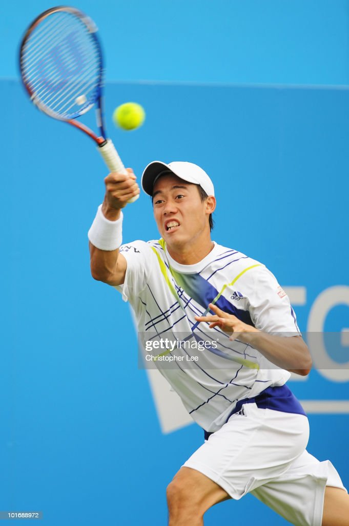 Kei Nishikori of Japan returns the ball during the men's first round match against Richard Gasquet of France during Day 1 of the the AEGON Championships at Queen's Club on June 7, 2010 in London, England.