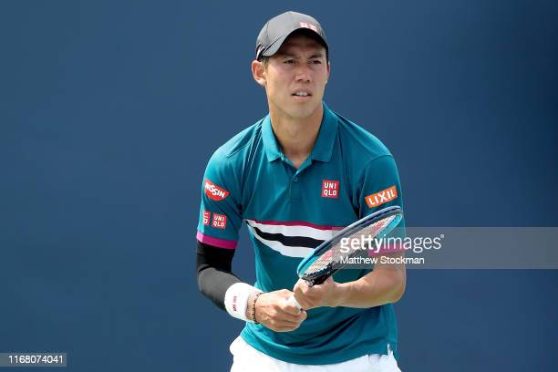 Kei Nishikori of Japan rplays Yoshihito Nishioka of Japan during the Western & Southern Open at Lindner Family Tennis Center on August 14, 2019 in...