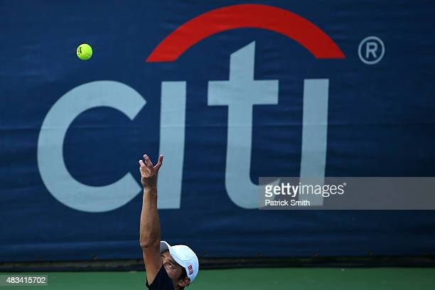 Kei Nishikori of Japan serves a shot to Marin Cilic of Croatia during the Citi Open at Rock Creek Park Tennis Center on August 8 2015 in Washington DC