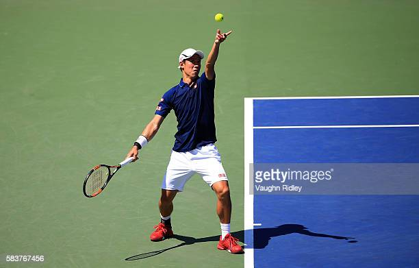 Kei Nishikori of Japan serves against Dennis Novikov on Day 3 of the Rogers Cup at the Aviva Centre on July 27 2016 in Toronto Ontario Canada