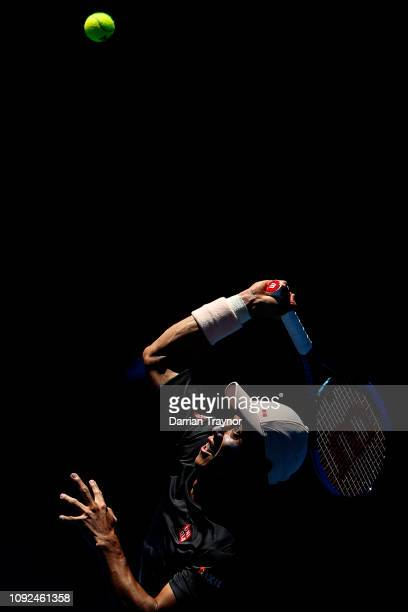 Kei Nishikori of Japan serves during a practice session ahead of the 2019 Australian Open at Melbourne Park on January 11 2019 in Melbourne Australia