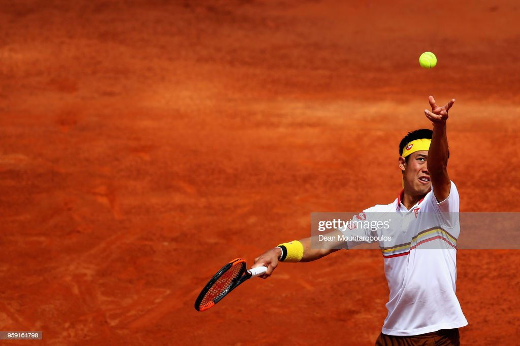 Kei Nishikori of Japan serves in his match against Grigor Dimitrov of Bulgaria during day 4 of the Internazionali BNL d'Italia 2018 tennis at Foro Italico on May 16, 2018 in Rome, Italy.