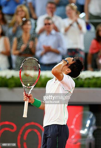 Kei Nishikori of Japan shows his emotions after his three victory against David Ferrer of Spain in their semi final match during day eight of the...
