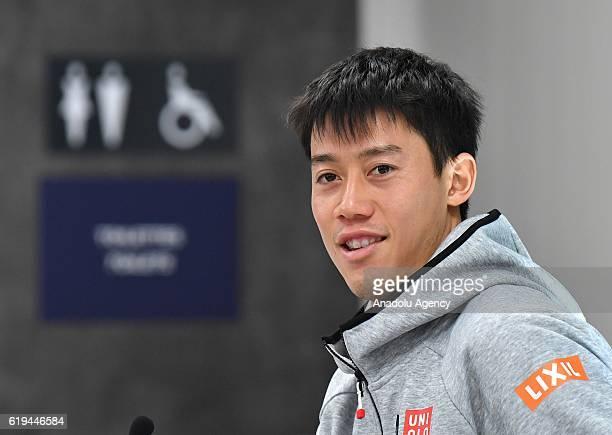 Kei Nishikori of Japan speaks during a press conference as part of BNP Paribas Paris Masters tennis tournament in Paris France on October 31 2016