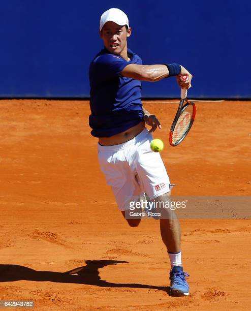 Kei Nishikori of Japan takes a forehand shot during a final match between Kei Nishikori of Japan and Alexandr Dolgopolov of Ukraine as part of ATP...