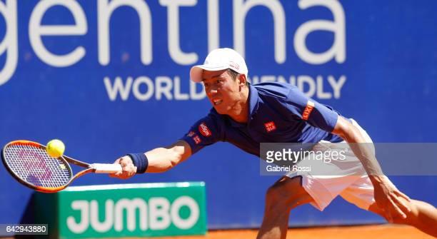 Kei Nishikori of Japan takes a forehand shot during a final match between Kei Nishikori of Japan and Alexandr Dolgopolov of Ukraine as part of ATP...
