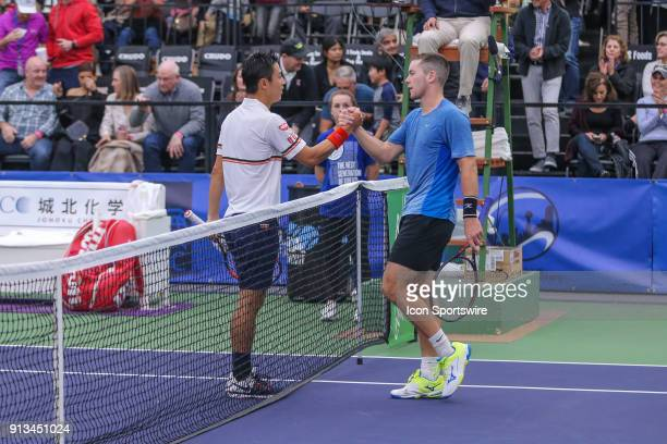 Kei Nishikori shakes hands with his opponent Dominik Koepfer during the RBC Tennis Championships of Dallas on February 1 2018 at the T Bar M Racquet...
