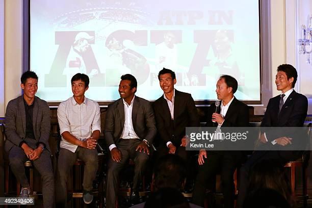 Kei Nishikori, Yen-Hsun Lu, Leander Paes, Pasadora Srichapan, Michael Chang, and Shuzo Matsuoka sit on stage to talk about their tennis at an ATP...