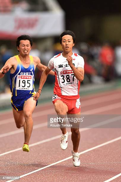Kei Takase of Japan competes in the mens 100 meter final during the 99th Japan Athletics National Championships at Denka Big Swan Stadium on June 28...