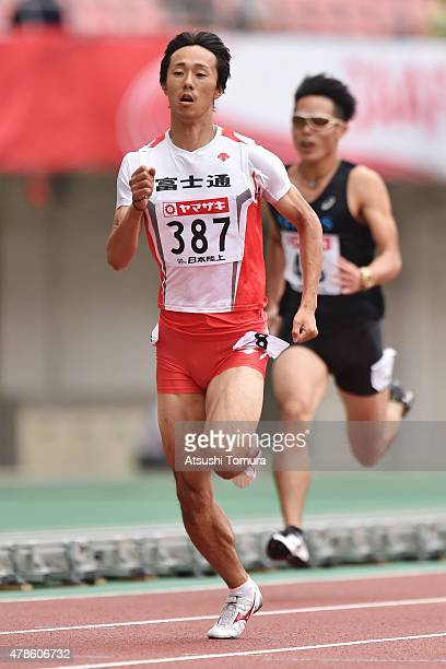 Kei Takase of Japan competes in the Men's 200m qualifications during the 99th Japan Athletics National Championships at Denka Big Swan Stadium on...
