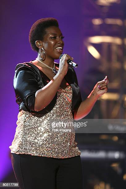 STUDIO CITY CA APRIL 03 A'Keiba Burrell daughter of rapper MC Hammer performs during the live taping of the premiere episode of Rock the Cradle on...