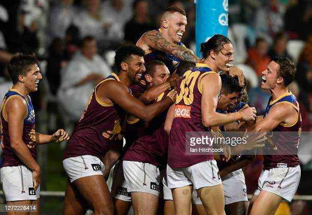 Keidean Coleman of the Lions celebrates after scoring a goal during the round 17 AFL match between the Sydney Swans and the Brisbane Lions at...