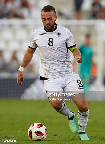 Keidi Bare of Albania in action during the 2019 UEFA Under 21 qualifier match between Spain U21 and Albania U21 at Nuevo Arcangel Stadium on...