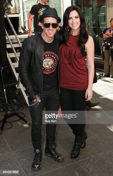 Keifer Thompson and Shawna Thompson of Thompson Square backstage during FOX Friends All American Concert Series outside of FOX Studios on August 29...