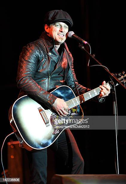 Keifer Thompson of the music duo Thompson Square performs onstage at the ACM concert 'Salute To The Military' presented by NRA Country held at the...