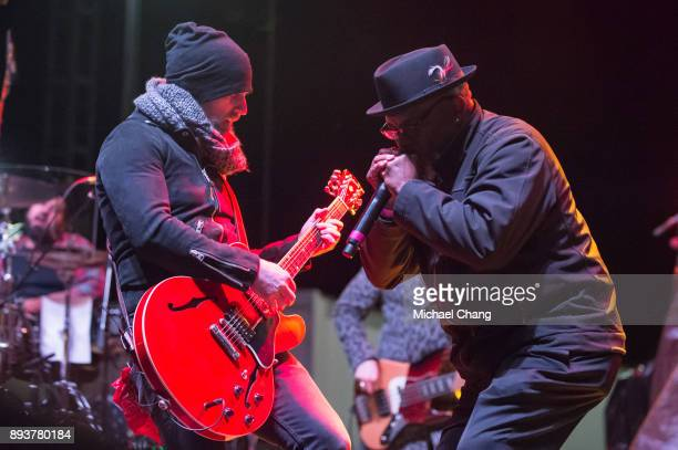 Keifer Thompson of Thompson Square performs with Bobby Blackhat Walterscat during Base*FEST Powered by USAA on December 15 2017 at Naval Air Station...