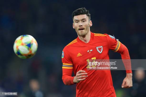 Keiffer Moore of Wales chases the bouncing ball during the UEFA Euro 2020 Qualifier between Wales and Hungary at Cardiff City Stadium on November 19...