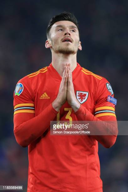 Keiffer Moore of Wales prays during the UEFA Euro 2020 Qualifier between Wales and Hungary at Cardiff City Stadium on November 19 2019 in Cardiff...