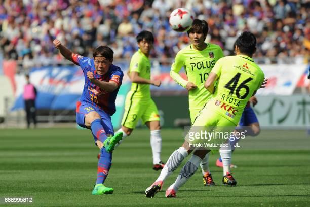 Keigo Higashi of FC Tokyo shoots at goal during the J.League J1 match between FC Tokyo and Urawa Red Diamonds at Ajinomoto Stadium on April 16, 2017...