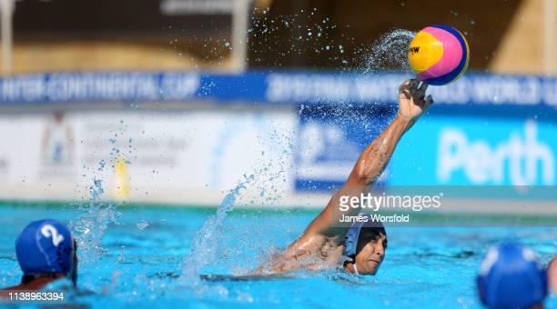 Keigo Okawa of Japan takes a shot at goal during the 2019 FINA World League InterContinental Cup Men's match between Japan and Argentina at HBF...