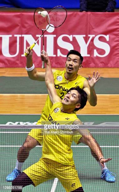 Keigo Sonoda and Takeshi Kamura compete in the Men's Doubles semi final against Takuro Hoki and Yugo Kobayashi on day five of the 74th All Japan...