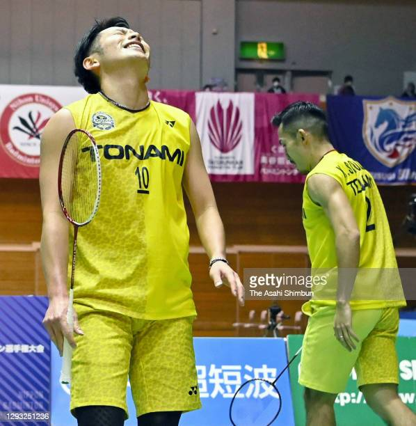 Keigo Sonoda and Takeshi Kamura react after their defeat in the Men's Doubles semi final against Takuro Hoki and Yugo Kobayashi on day five of the...