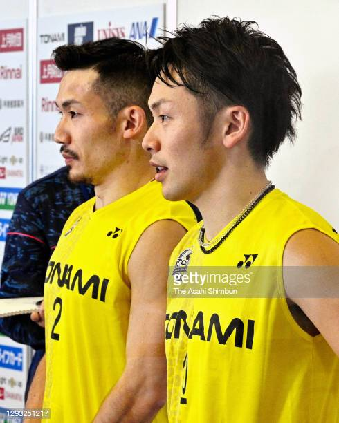 Keigo Sonoda and Takeshi Kamura speak to media after their defeat in the Men's Doubles semi final against Takuro Hoki and Yugo Kobayashi on day five...