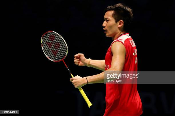 Keigo Sonoda of Japan celebrates a point in their Quarter Final match partnered with Takeshi Kamura against Goh V Shem and Tan Wee Kiong of Malaysia...