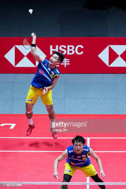 Keigo Sonoda of Japan in action with Takeshi Kamura of Japan during their match against Hiroyuki Endo and Yuta Watanabe of Japan on day 1 of the HSBC...